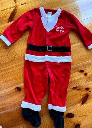 Новогодний человечек санта клауса для мальчика 12-18мес костюм...
