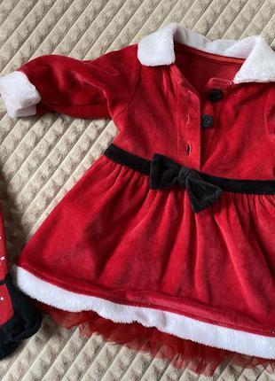 Новогодний наряд для малышки снегурочка дед мороз 3мес