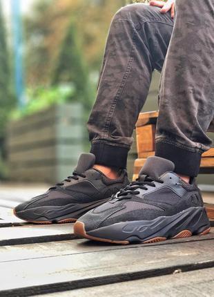 Adidas yeezy boost 700 utility black мужские замшевые кроссовк...