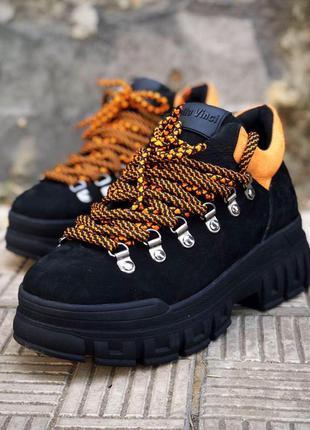 ❤ женские черные нубуковые зимние кроссовки ❤
