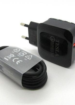 СЗУ блочек Tesla micro USB+кабель