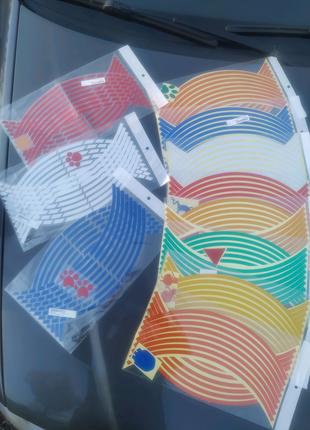 """Светоотражающие наклейки на мото обод, диск 16"""", 17"""", 18"""" колеса"""