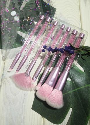 7 шт в футляре кисти для макияжа набор pink/crystal probeauty