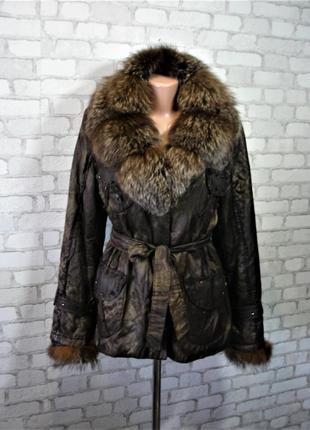 Куртка с воротником чернобурки на кролике---две в одной---48-50 р