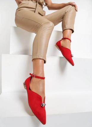 Женские красные туфли балетки с острым носком sale