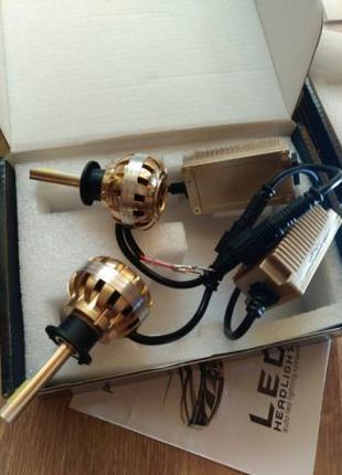 Автомобильные LED лампы головного света H3 Gold с блоком и кул...
