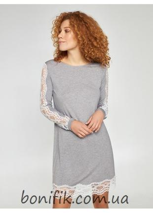 Женская серая меланжевая ночная сорочка арт. LND 355/001