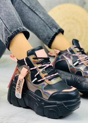 ❤ женские черные зимние кроссовки на высокой подошве ❤