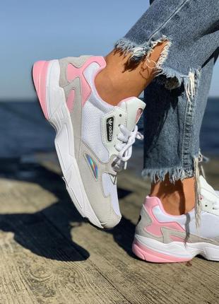Кроссовки adidas falcon white & pink кросівки