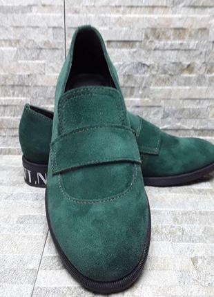 Туфли демисезонные, осенние, зеленые, замшевые, женские, 36-40р