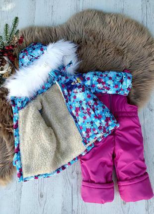 Зимний костюм, комбинезон звездочки-снежинки 86-116