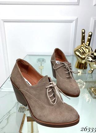 Ботинки натуральная замша на толстом каблуке