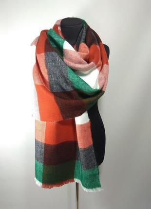 Теплый зимний шерстяной шарф палантин плед в клетку зеленый, т...