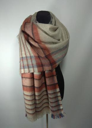 Теплый зимний шерстяной шарф палантин плед в клетку бежевый но...