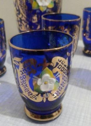 Богемское стекло, набор из 6-ти предметов.