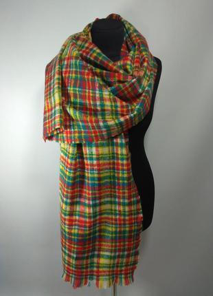 Теплый зимний шерстяной шарф палантин плед в клетку зеленый кр...