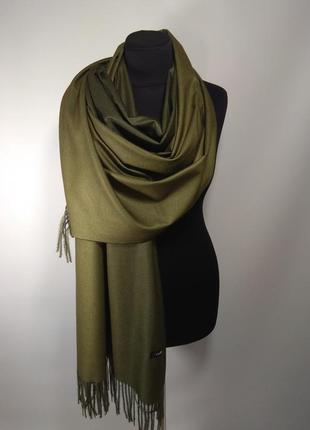 Крутой двухсторонний однотонный палантин шарф кашемировый олив...