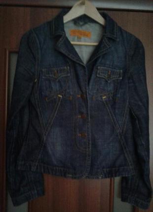 Котоновый джинсовый пиджак жакет simurg italy, приталенный