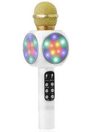 Беспроводной караоке микрофон колонка со цветомузыкой