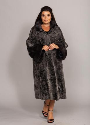Шикарное пальто шуба из персидской каракульчи мрамор и финской...
