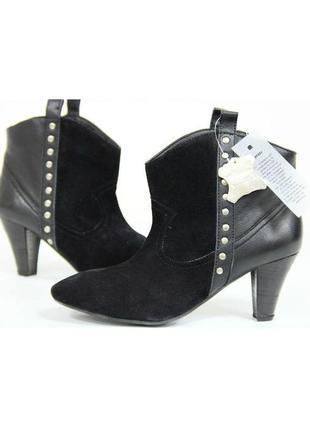 Женские, кожаные, ботинки, на каблуке, демисезон, осень, весна...