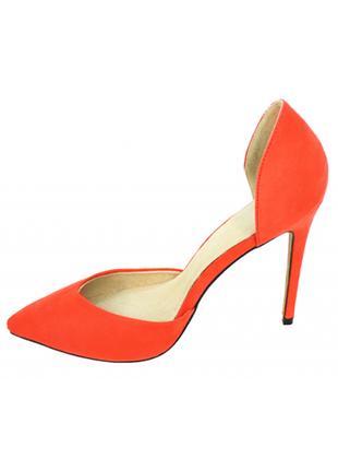 Женские, нарядные, замшевые, оранжевые, туфли, на шпильке, mos...