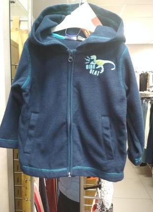 Кофта, теплая, флисовая, детская, на мальчика, синяя, lupilu,8...