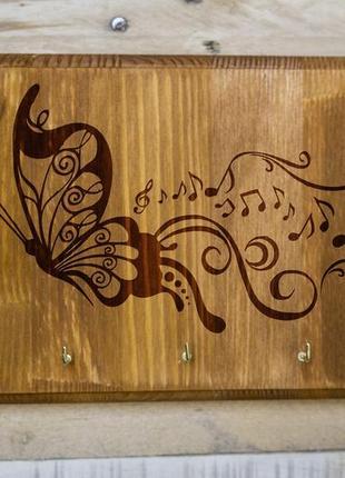 "Настенная ключница ""Бабочка"" 02 из дерева"