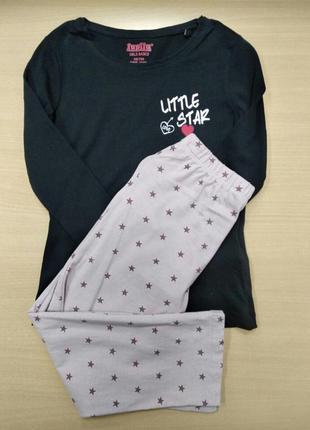 Пижама, костюм, для сна, кофта, штаны, детская, на девочку,  р...