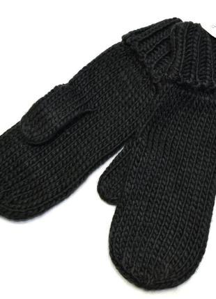 Варежки, рукавицы, черные, женские, теплые, зимние, вязанные.