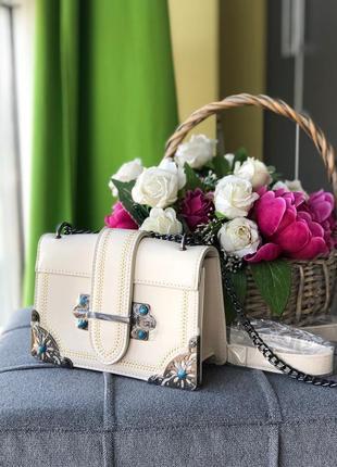 Женская сумка бежевая белая на плечо, сумочка, клатч белый беж...