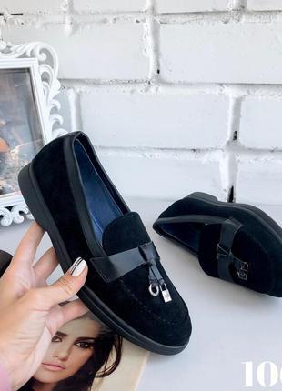 Замшевые лоферы в стиле лоро пиана с мягкой пяткой, туфли, мок...