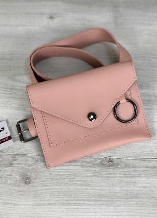 Женская поясная сумка, сумка на пояс ,2 цвета, розовая, пудра,...