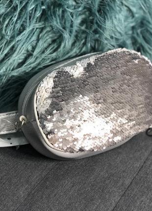 Серебристая серая поясная сумка с пайетками, сумочка на пояс, ...