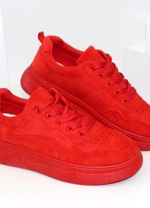 Женские замшевые красные кроссовки криперы