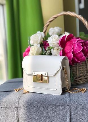 Белый клатч, женская белая сумочка, сумка