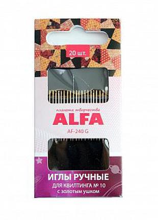 Иглы  ручные для квилтинга Alfa AF-240G. 20 шт.