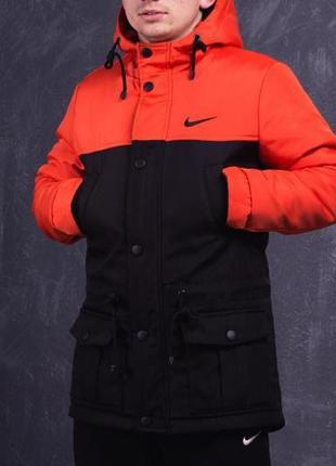 Парка зима мужская оранжево-черная