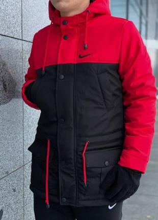 Парка зима мужская красно-черная