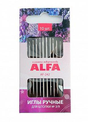 Иглы Ручные Для ШТОПКИ ALFA AF-242, 10 ШТ.