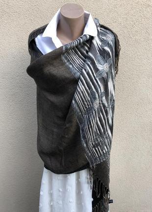 Большущий шарф,палантин,накидка с бахромой,шерсть-шелк,люкс бр...