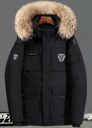 Мужская зимняя куртка пуховик аляска NF, чёрная. Размер 46-48