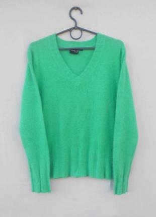 Теплый шерстяной свитер пуловер c ангорой с длинным рукавом