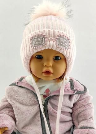 Шапка вязаная польша детская 44 по 50 размер с завязками