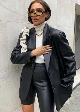 Пиджак zara oversized кожзам черный