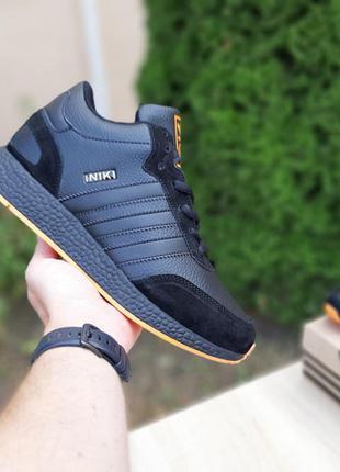 Мужские зимние кроссовки ❄️adidas iniki❄️ чёрный с оранжевым в...