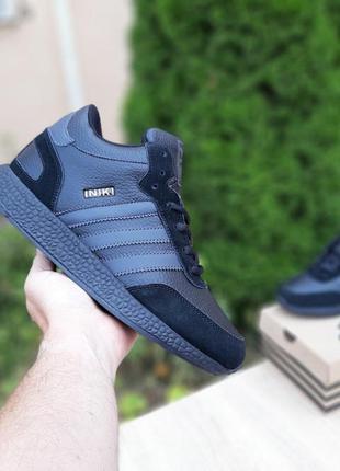 Мужские зимние кроссовки ❄️adidas iniki❄️ чёрный высокие