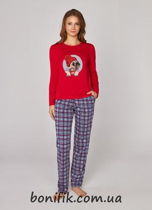 """Хлопковый комплект женской пижамы с рисунком """"Мопса"""" арт. 373/001"""