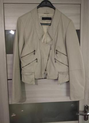 ❤️укороченая кожаная куртка косуха zara натуральная