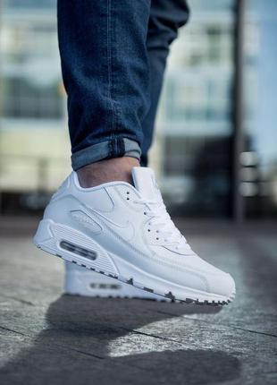 Nike air max 90 white шикарные мужские кожаные кроссовки белог...